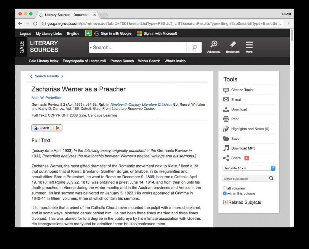 screenshot of article in Literary Sources database