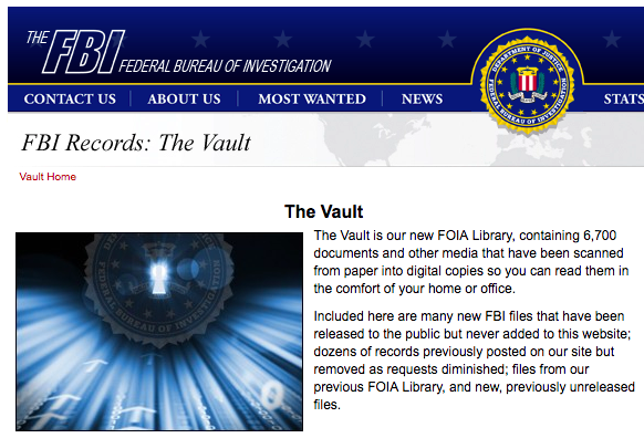 FBI Web page for The Vault