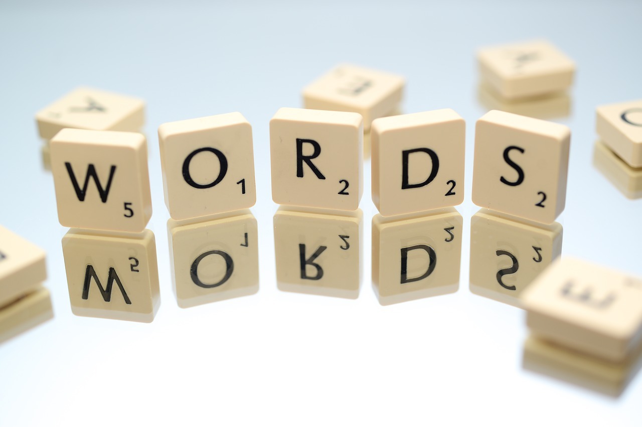 Scrabble titles displaying the term words